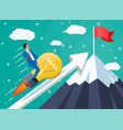 businessman on flying rocket light bulb on chart vector image