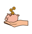 Cartoon hand holding piggy coins money safe