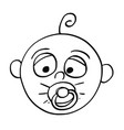 cartoon of baby with dummy or comforter or vector image vector image