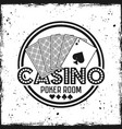 casino round badge with playing cards vector image vector image