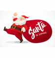 christmas card funny cartoon santa claus with vector image