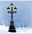 christmas winter cityscape snow city park skyline vector image vector image