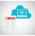 cloud code developing laptop wifi vector image vector image
