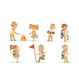 collection kids scouts camping cute boys and vector image vector image