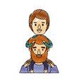 color crayon stripe caricature half body bearded vector image