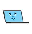 computer sad emoji face avatar laptop sorrowful vector image vector image