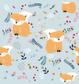 cute seamless pattern fox and wild flower vector image vector image