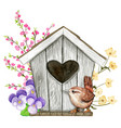 cute watercolor birdhouse with heart shaped hole vector image vector image