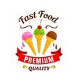 Fast food ice cream label icon vector image vector image