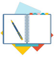 Flat design notepad with a pen vector image vector image