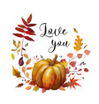 floral watercolor style autumn card design orange vector image vector image