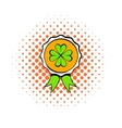 Four leaves clover badge icon comics style vector image vector image