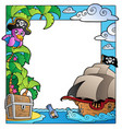 frame with sea and pirate theme 1 vector image vector image