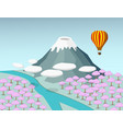 fuji mountain and sakura forest in 3d vector image vector image