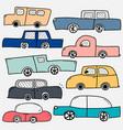 hand drawn cars set vector image
