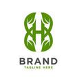 initial leaf logo design h vector image vector image