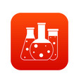 laboratory flasks icon digital red vector image vector image