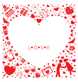 Love Icons Heart Shape Frame and Border vector image vector image