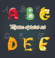 marine cartoon fun alphabet vector image