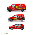 mocup set with advertisement on red car cargo van vector image vector image