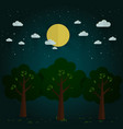 night park natural landscape in the flat style a vector image vector image