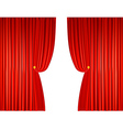 open red curtains with ropes vector image vector image