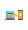 payment transaction with smartphone and laptop vector image