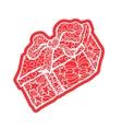 Red santas box or greeting card ribbon Happy vector image