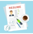 resume on table vector image vector image