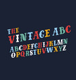 retro slanted font and alphabet vector image vector image