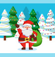 santa claus standing with sack in winter forest vector image vector image