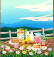 scene with breakfast set on picnic cloth vector image vector image