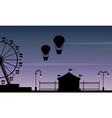 silhouette amusement park beauty scenery vector image vector image