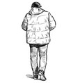 sketch casual townsman in jacket walking down vector image vector image