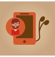 smartphone and headphones man hipster vector image vector image