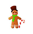 smiling xmas gingerbread man with top hat and vector image vector image