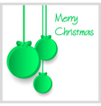 three green paper christmas decoration baubles vector image