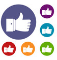 thumb up gesture icons set vector image vector image