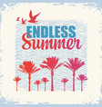 travel banner with palms and gulls endless summer vector image