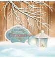 Vintage Christmas Snow Branch Lantern Background vector image