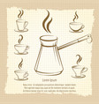 voffee maker and cups vintage poster vector image vector image