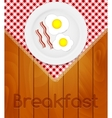 White Plate with Fried Eggs on Kitchen Napkin at vector image vector image