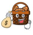 with money bag bread basket character cartoon vector image