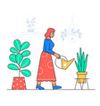 woman watering plants - flat design style vector image