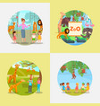 zoo icon set flat style vector image vector image