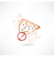 ban slice of pizza grunge icon vector image