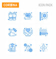 9 blue viral virus corona icon pack such as hands vector image vector image