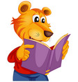 a tiger reading book vector image vector image