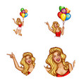 avatar of woman balloons with sale vector image vector image