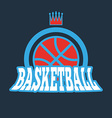 Basketball Badge with Stars and Crown vector image vector image